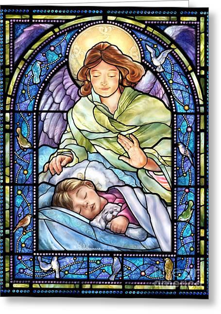 Guardian Angel With Sleeping Girl Greeting Card