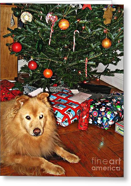 Guardian Of The Christmas Tree Greeting Card by Sarah Loft