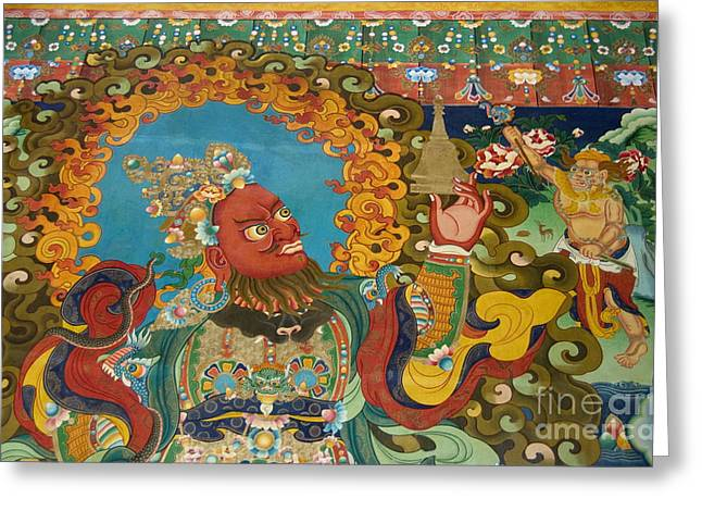Guardian Of The West - Litang Monastery Kham Greeting Card by Craig Lovell