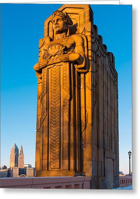 Guardian Towering Over Cleveland Greeting Card