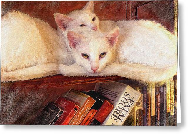 Guardians Of The Library Greeting Card by Jane Schnetlage