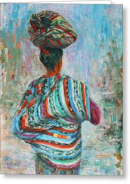 Greeting Card featuring the painting Guatemala Impression I by Xueling Zou