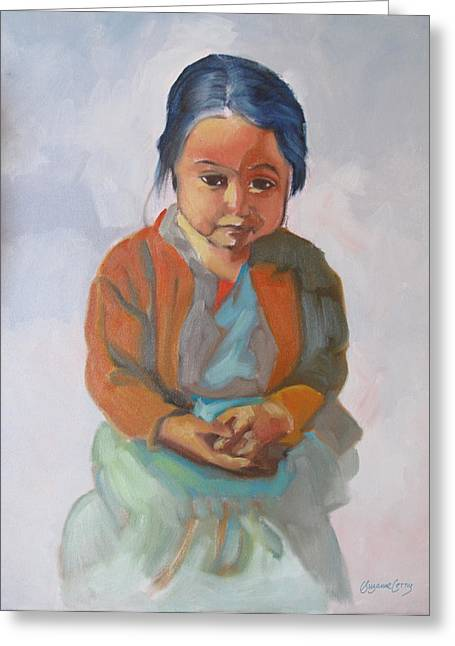 Guatemalan Girl With Folded Hands Greeting Card