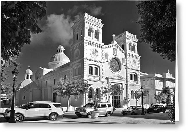 Guayama Church And Plaza B W 1 Greeting Card