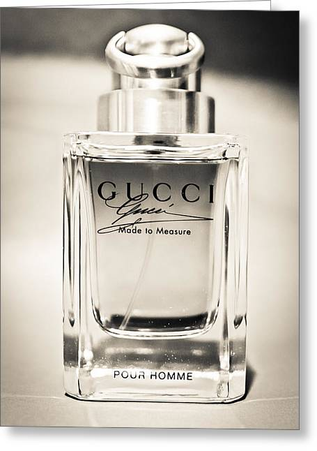 Black And White Greeting Card featuring the photograph Gucci Made To Measure  by Aaron Berg