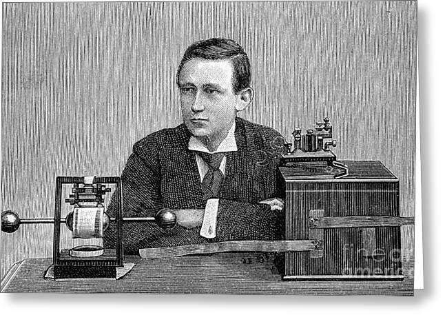 Guglielmo Marconi With His Radio, 1890s Greeting Card by Bildagentur-online