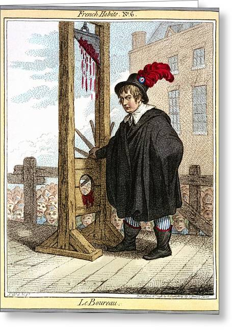 Guillotine Caricature, 1798 Greeting Card by Science Photo Library