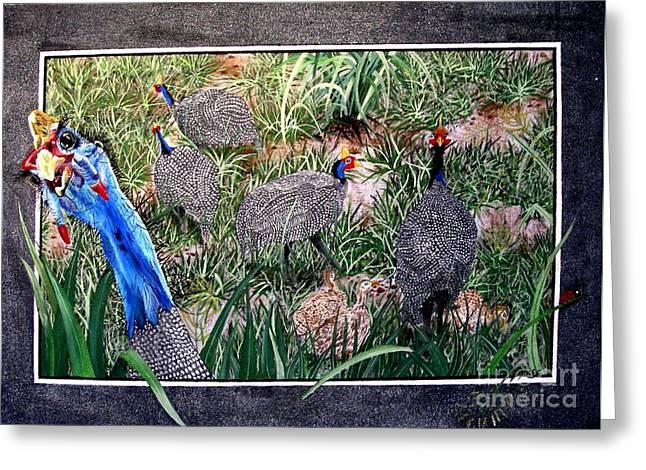Guinea Fowl In Guinea Grass Greeting Card by Sylvie Heasman