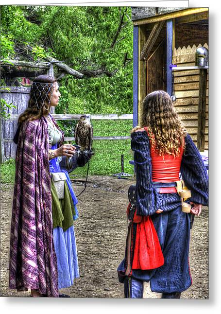 Guinevere Lady Hawk Greeting Card by John Straton