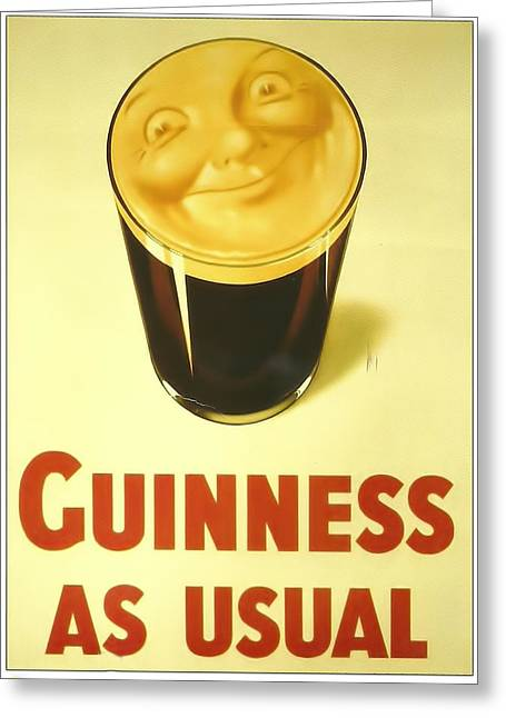 Guinness As Usual Greeting Card by Georgia Fowler