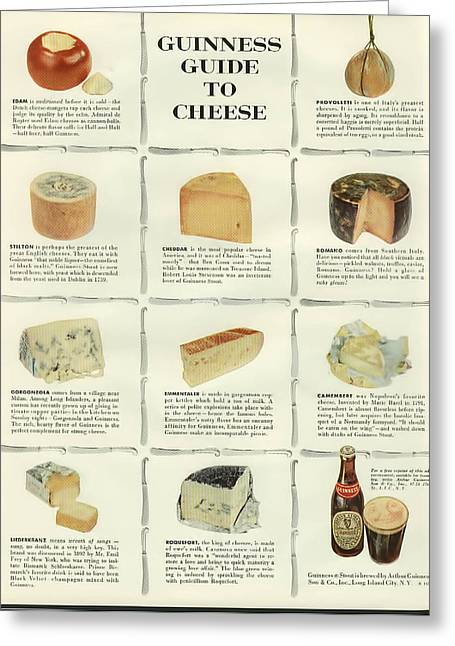Guinness Guide To Cheese Greeting Card by Georgia Fowler