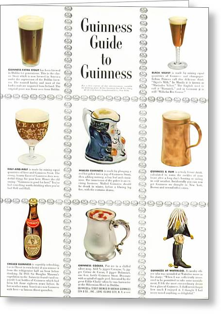 Guinness Guide To Guinness Greeting Card by Georgia Fowler
