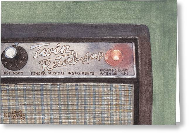 Guitar Amp Sketch Greeting Card by Ken Powers