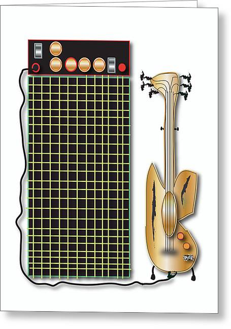 Greeting Card featuring the digital art Guitar And Amp by Marvin Blaine