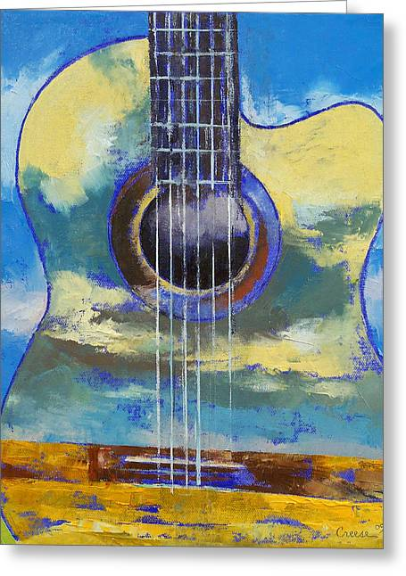 Guitar And Clouds Greeting Card by Michael Creese