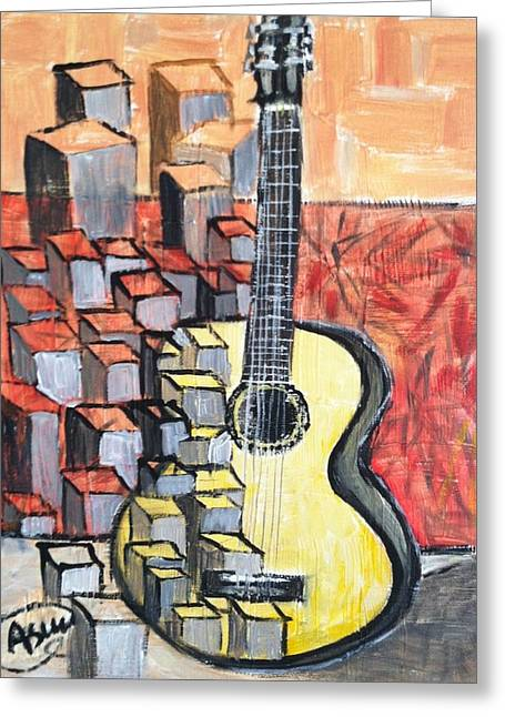 Guitar Greeting Card by Asuncion Purnell