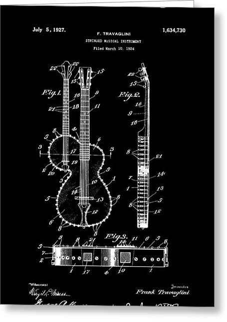 Guitar Banjo 2 Patent Art  1927 Greeting Card