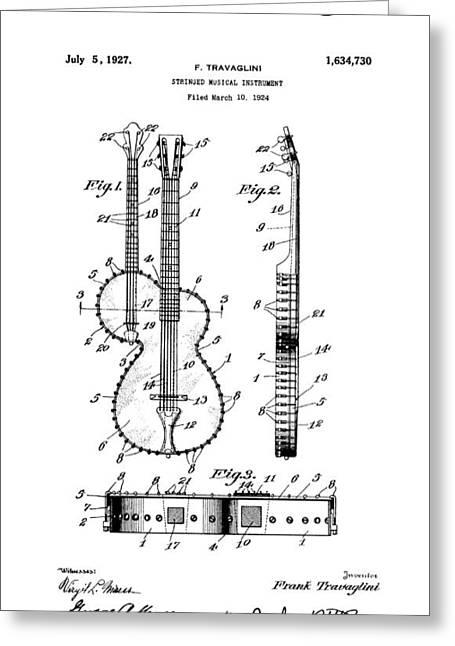 Guitar Banjo Patent Art  1927 Greeting Card