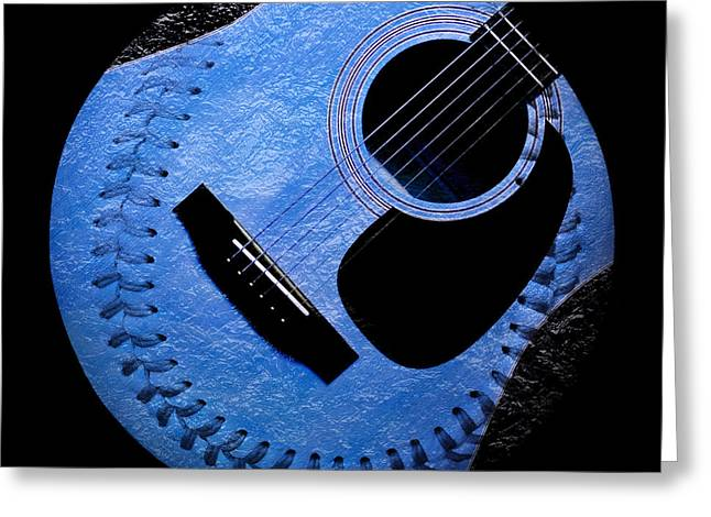 Guitar Blueberry Baseball Square Greeting Card