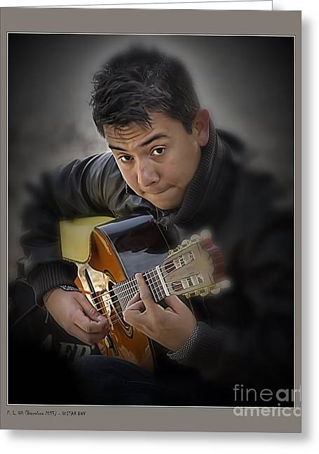 Guitar Boy Greeting Card by Pedro L Gili