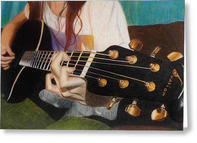 Guitar Drawing Greeting Card by Savanna Paine