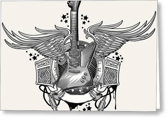 Guitar Emblem Greeting Card