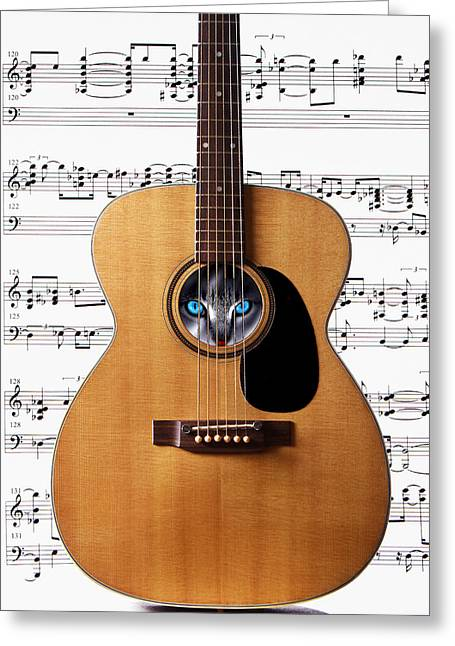 Guitar Eyes Greeting Card by Cecil Fuselier
