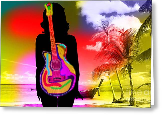 Guitar Girl At Beach Greeting Card