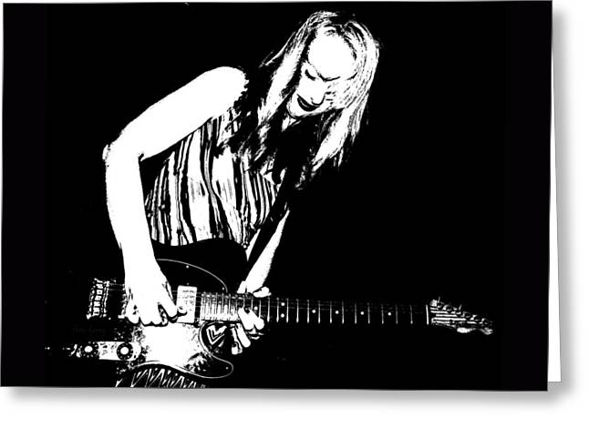 Fender Guitar Girl  Greeting Card by Chris Berry
