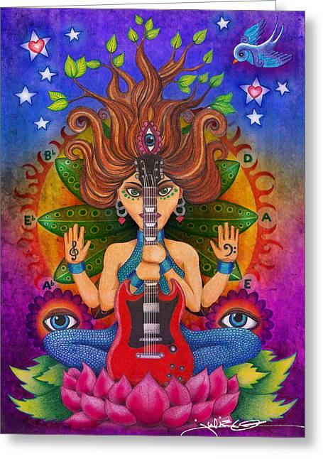 Guitar Goddess Greeting Card by Julie Oakes