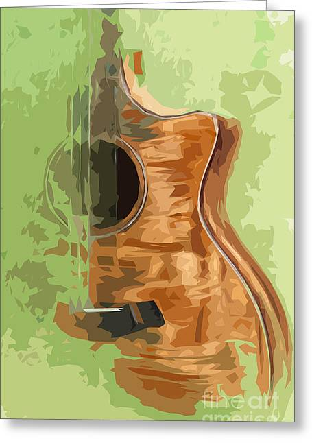Guitar Green Background 1 Greeting Card by Pablo Franchi
