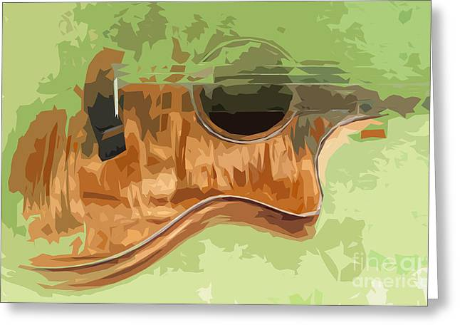 Guitar Green Background 3 Greeting Card