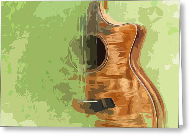 Guitar Green Background 5 Greeting Card by Pablo Franchi