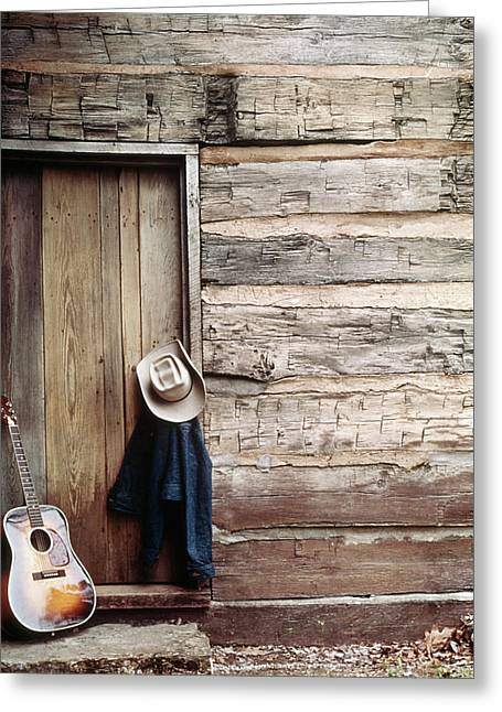 Guitar Hat And Jacket By Weathered Barn Greeting Card