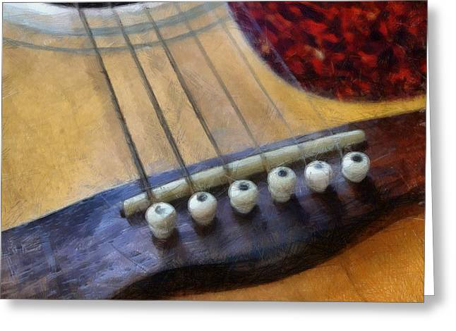 Guitar Greeting Card by Michelle Calkins