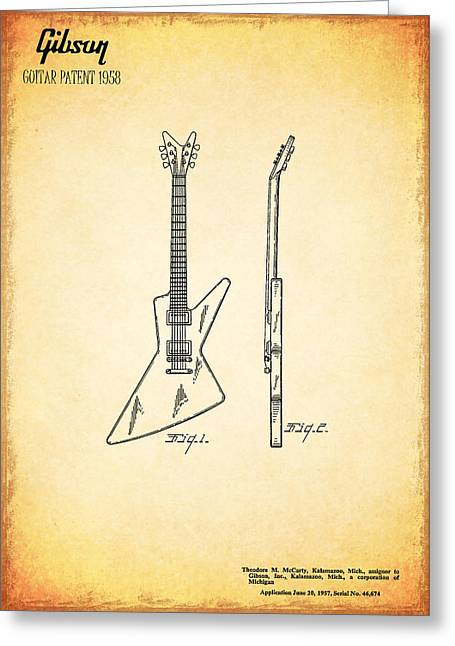 Guitar Patent 1958 Greeting Card