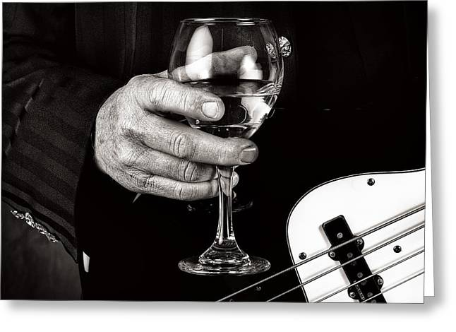 Guitar Player And A Glass Of Wine Greeting Card