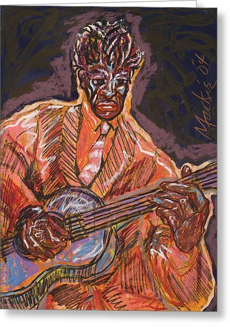 Guitar Player Greeting Card by Deryl Daniel Mackie