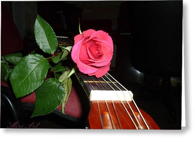 Guitar Rose Greeting Card by Miriam Shaw