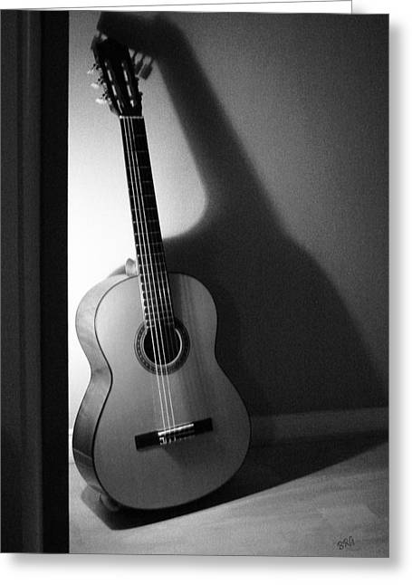 Guitar Still Life In Black And White Greeting Card