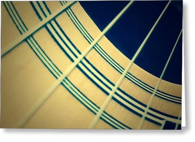 Guitar Strings Greeting Card by Diane Macdonald
