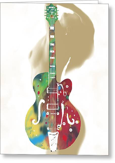Guitar With Nude -  Stylised Drawing Art Poster Greeting Card by Kim Wang