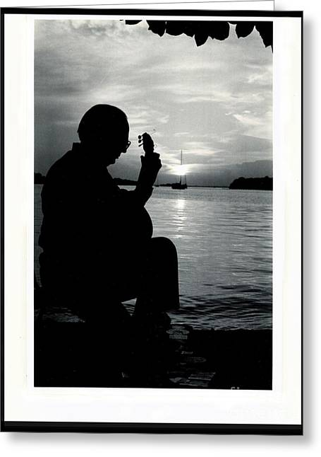Guitarist By The Sea Greeting Card