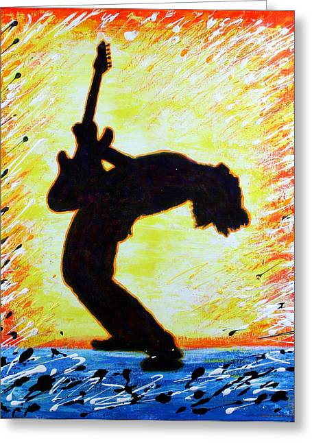 Greeting Card featuring the painting Guitarist Rockin' Out Silhouette by Bob Baker