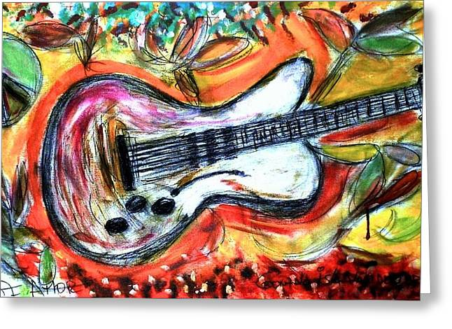 Guitarra Vas A Llorar Greeting Card by Gonzalo Isla van den brule