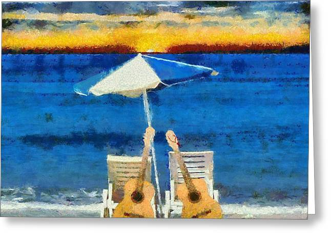 Guitars On The Beach At Sunset Greeting Card by Dan Sproul