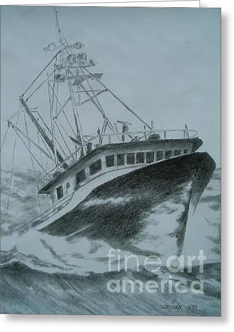 Gulf Crabber Greeting Card by John Jensen