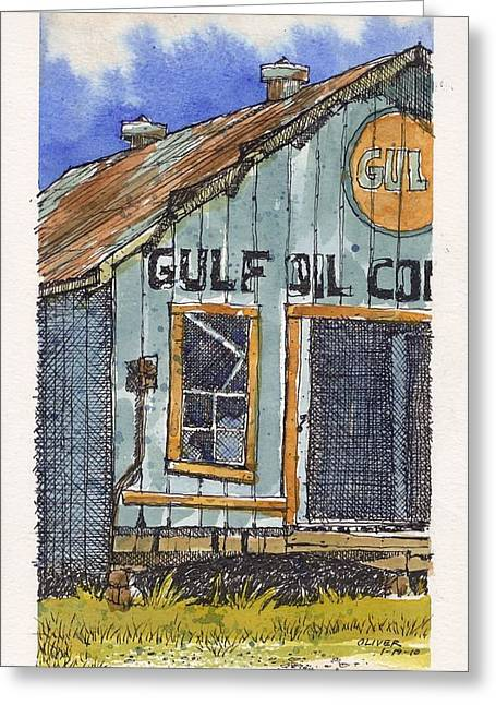 Greeting Card featuring the mixed media Gulf Oil Warehouse 2 by Tim Oliver
