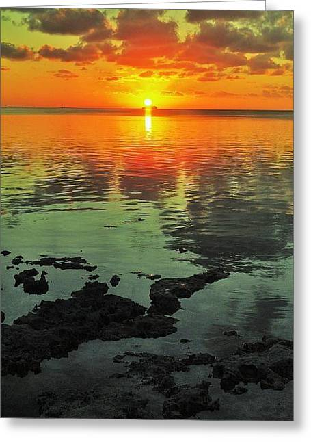 Gulf Sunset Greeting Card by Benjamin Yeager