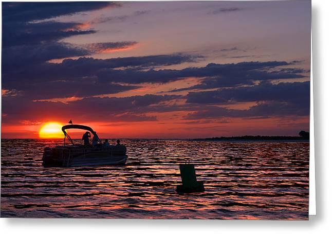 Gulf Sunset Greeting Card by Laura Fasulo